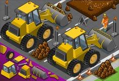 Isometrische gele bulldozer in achtermening Stock Foto's