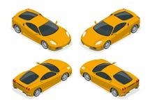 Isometrische Gele sportwagen stock illustratie