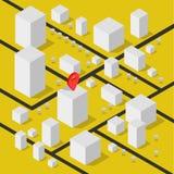 Isometrische geolocation Karte mit Gebäuden und Straßen Minimalistic-Navigationskarte Standort mit Stiftzeiger isometrisch Lizenzfreie Stockfotografie