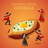 Isometrische Georgia National Cuisine mit Khachapuri und georgische Leute in der traditionellen Kleidung stock abbildung
