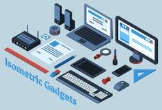 Isometrische Geplaatste Gadgets Royalty-vrije Stock Fotografie