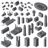 Isometrische Geplaatste Gebouwen Vector eenvoudige geplaatste gebouwen royalty-vrije illustratie