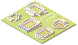 Isometrische geplaatste stadiongebouwen Stock Afbeeldingen