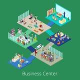 Isometrische Geschäftslokal-Mitte-errichtender Innenraum mit Konferenzsaal und Turnhalle vektor abbildung