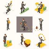 Isometrische Geschäftsmänner 3d, ein Satz Konzepte mit einem Geschäftsmann und ein Bündel Geld, ein Investormillionärsreicher lizenzfreie abbildung