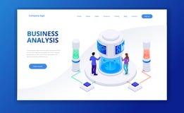 Isometrische Geschäftsstrategie und Planung Investitionen und Analyse-Daten Vektorillustration für Darstellung oder Landung stock abbildung
