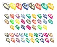 Isometrische geschakeerde alfabetdoopvont Stock Foto