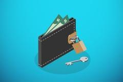 Isometrische geschlossene schwarze Geldbörse und Verschluss mit Schlüssel, Rettungsgeld und Geschäftskonzept Stockbilder