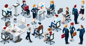Isometrische gesetzte Vektor-Illustration der Leute-Geschäfts-Zug-Ikonen-3D Lizenzfreie Stockbilder