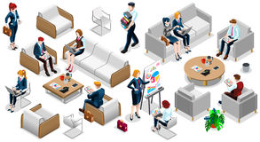 Isometrische gesetzte Vektor-Illustration Leute-Geschäfts-Team Icons 3D Lizenzfreie Stockfotos