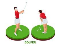 Isometrische golfspeler De elementen van het sportontwerp stock illustratie