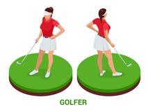 Isometrische golfspeler De elementen van het sportontwerp royalty-vrije illustratie