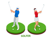 Isometrische golfspeler De elementen van het sportontwerp vector illustratie