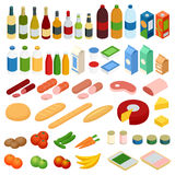 Isometrische grote reeks van levensmiddel Vector geplaatste voedselpictogrammen Stock Foto's