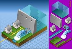 Isometrische Häuser angeschalten durch watermill Stockfotos