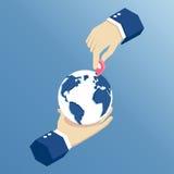 Isometrische handen en navigatie Stock Foto
