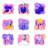 Isometrische helle Konzepte mit Jugendlichen oder jungen Unternehmern Vektorillustration für Website und beweglichen Anwendungsen stock abbildung
