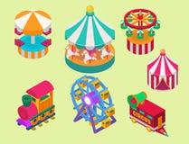Isometrische het circus toont de markttent van de vermaaktent openluchtfestival met strepen en vlaggen de tekens van Carnaval royalty-vrije illustratie
