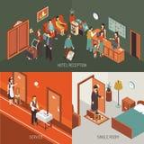 Isometrische het Ontwerpaffiche van het hotelconcept vector illustratie
