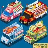 Isometrische het Voertuig van de voedselvrachtwagen Set02 Stock Afbeeldingen