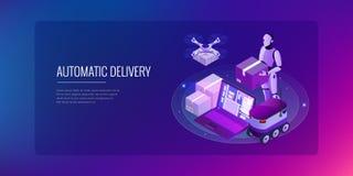 Isometrische Hommel Snelle Levering van goederen in de stad Het technologische concept van de verzendingsinnovatie Autonome logis Royalty-vrije Illustratie