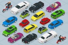 Isometrische hoogte - geplaatste de pictogrammen van de het vervoerauto van de kwaliteitsstad royalty-vrije illustratie
