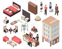Isometrische Hotelreeks vector illustratie