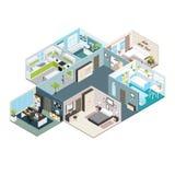 Isometrische Huis Binnenlandse Mening royalty-vrije illustratie