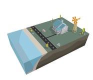 Isometrische Huis en windturbines voor verkoop Royalty-vrije Stock Afbeelding