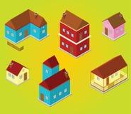 Isometrische huizen Royalty-vrije Stock Foto's