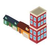 Isometrische huizen en gebouwen stock illustratie