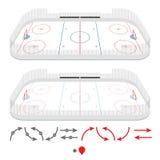 Isometrische ijshockeypiste Stock Fotografie