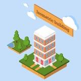 isometrische Ikone 3d oder infographic Element, die niedriges Polystadtwohngebäude darstellen stock abbildung