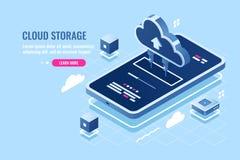 Isometrische Ikone der beweglichen Anwendung, Downloaddatei auf Smartphone vom Wolkenserverspeicher, Sicherheitsferndatenunterstü lizenzfreie abbildung