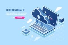 Isometrische Ikone der Wolkendatenspeicherung, ladende Datei auf Wolkenserver für Fernzugriffkonzept, Laptop-Computer, Datenbank stock abbildung