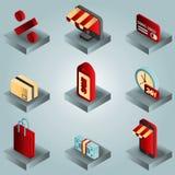 Isometrische Ikonen der Einkaufsfarbsteigung Lizenzfreies Stockfoto