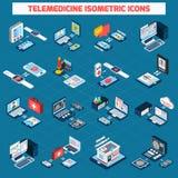 Isometrische Ikonen der Fernmedizin eingestellt Lizenzfreie Stockbilder