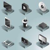 Isometrische Ikonen der on-line-Kinofarbsteigung Lizenzfreie Stockbilder