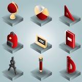 Isometrische Ikonen der Schulfarbsteigung Stockfotos
