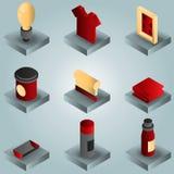 Isometrische Ikonen der Seiden-skreenfarbsteigung Lizenzfreie Stockfotografie