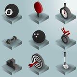 Isometrische Ikonen der Sportfarbsteigung Lizenzfreie Stockbilder