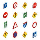 Isometrische Ikonen der Straßenverkehrsschilder eingestellt Lizenzfreies Stockfoto