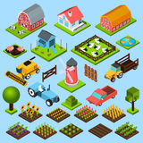 Isometrische Ikonen des Bauernhofes eingestellt Stockfotografie