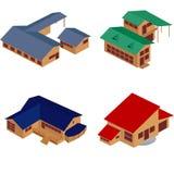 Isometrische Ikonen des Hauses Stockbilder
