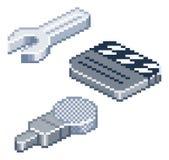 Isometrische Ikonen des Pixelretrostils Lizenzfreie Stockfotografie