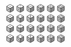 Isometrische Ikonen des Satzes der Würfel 3d Lizenzfreie Stockfotos