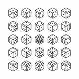 Isometrische Ikonen des Satzes der Würfel 3d Lizenzfreies Stockfoto