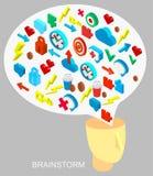 Isometrische Ikonensammlung des Prozesses des menschlichen Gehirns Stockbild