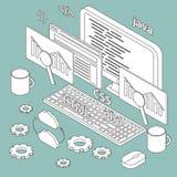 Isometrische illustratie bij de programmering van thema Royalty-vrije Stock Foto's