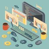 Isometrische illustratie bij de programmering van thema Stock Foto